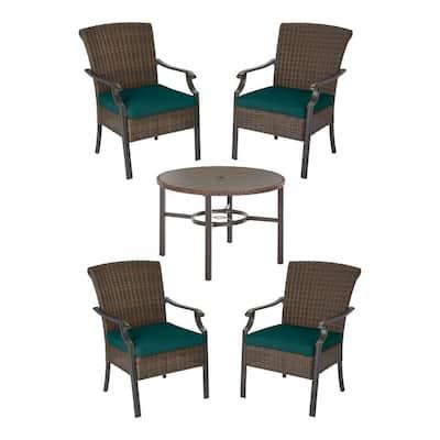 Harper Creek 5-Piece Brown Steel Outdoor Patio Dining Set with CushionGuard Malachite Green Cushions