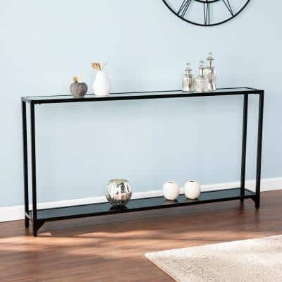 Greene 56 in. Black Rectangle Glass Console Table with Shelves