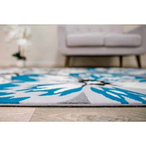 World Rug Gallery Modern Contemporary Floral Design Blue 7 Ft 6 In X 9 Ft 5 In Indoor Area Rug 9098blue8x10 The Home Depot