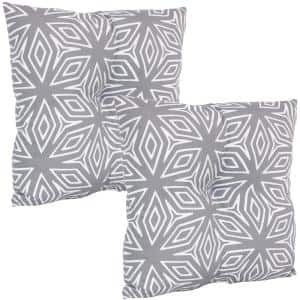 19 in. x 19 in. Gray Geometric Outdoor Tufted Back Throw Pillow Cushions (2-Pack)