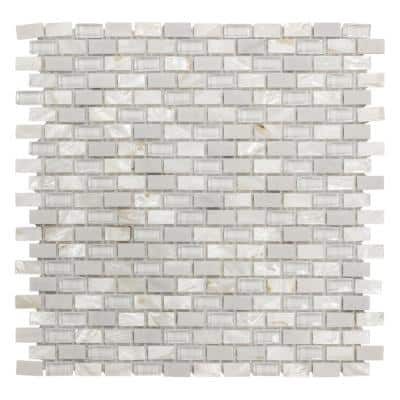 Lightning White 11.75 in. x 11.75 in. Interlocking Mixed Glass, Shell and Marble Mosaic Tile (0.958 sq. ft./Each)