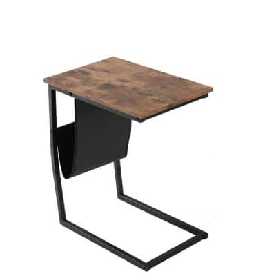 Industrial Side Table for Coffee Laptop Tablet, Slides Next to Sofa Couch, Wood Look Accent Furniture with Metal Frame
