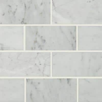 Carrara White 3 in. x 6 in. Polished Marble Floor and Wall Tile (5 sq. ft./Case)