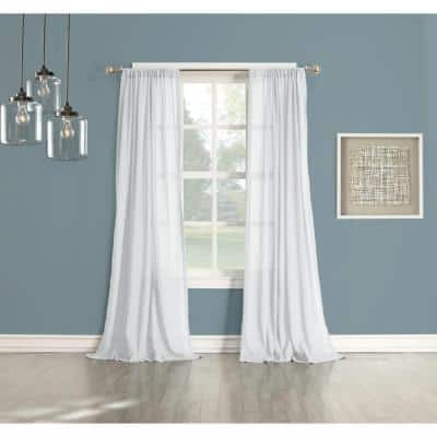 White Solid Rod Pocket Sheer Curtain - 50 in. W x 84 in. L