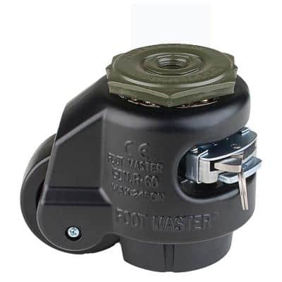 2-1/2 in. Nylon Wheel Metric Stem Ratcheting Leveling Caster with Load Rating 1100 lbs.