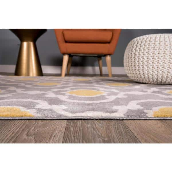 World Rug Gallery Contemporary Moroccan, Gray And Yellow Rugs For Living Room