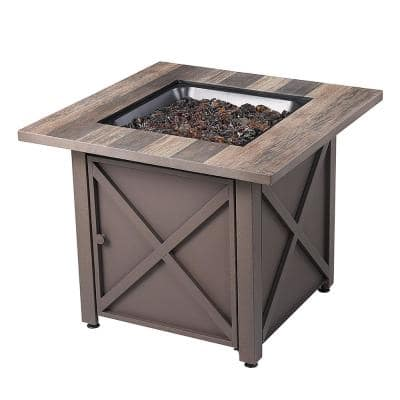 30 in. Square Rustic Charm LP Outdoor Gas Fire Pit