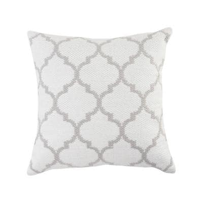 Robin 20 in. x 20 in. White/Gray Geometric Square Outdoor Throw Pillow