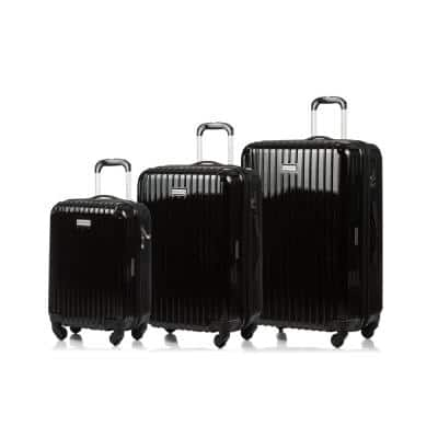 CHAMPS Rome 28 in.,24 in., 20 in. Black Hardside Luggage Set with Spinner Wheels (3-Piece)