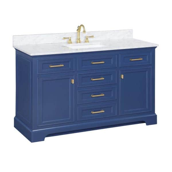 Design Element Milano 54 In W X 22 In D Bath Vanity In Blue With Carrara Marble Vanity Top In White With White Basin Ml 54 Blu The Home Depot