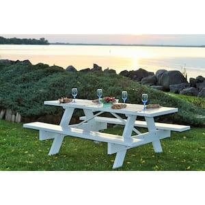 6 ft. White Vinyl Patio Picnic Table