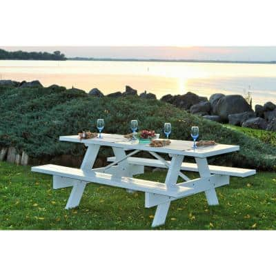 6 ft. White Vinyl Patio Picnic Table