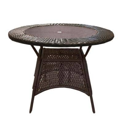 Brown Round Wicker Outdoor Patio Table with Glass Top and Steel Frame