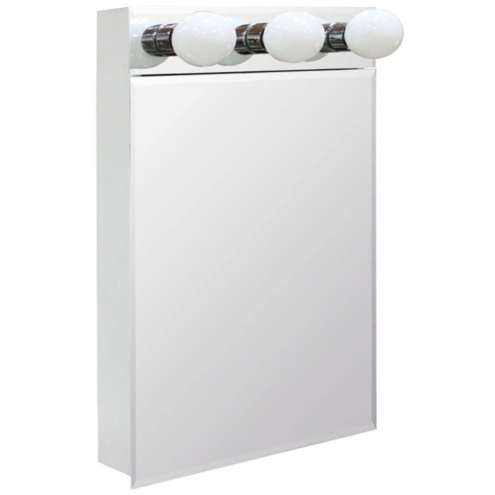 Glacier Bay 16 In W X 28 In H Lighted Frameless Beveled Bathroom Medicine Cabinet Sil16 Bm The Home Depot