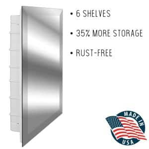 Altair 16 in. x 26 in. x 3-1/2 in. Frameless Recessed 1-Door Medicine Cabinet with 6-Shelves and Broad Bevel Mirror