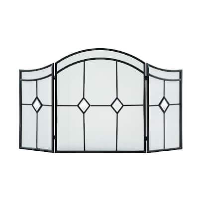 Diamond Espresso Steel 3-Panel Fireplace Screen
