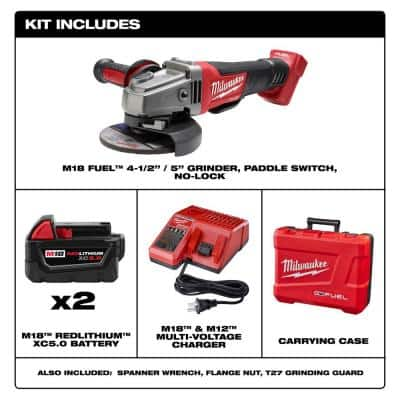 M18 FUEL 18-Volt Lithium-Ion Brushless Cordless 4-1/2 in. /5 in. Grinder with Paddle Switch Kit w/(2) 5.0 Ah Batteries