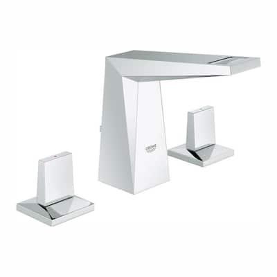 Allure Brilliant 8 in. Widespread 2-Handle 1.2 GPM Bathroom Faucet in StarLight Chrome