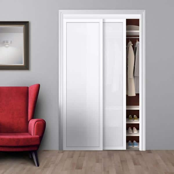 Truporte 48 In X 80 Harmony White, White Mirror Sliding Closet Door