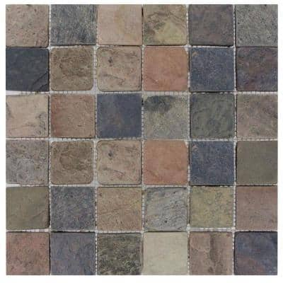 Mixed Color 12 in. x 12 in. x 10mm Textured Slate Mesh-Mounted Mosaic Tile (10 sq. ft./case)
