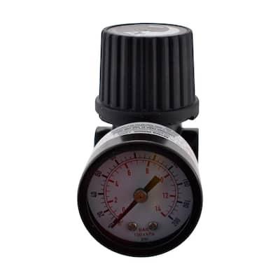 1/4 in. Black Air-Compressor Regulator with Gauge