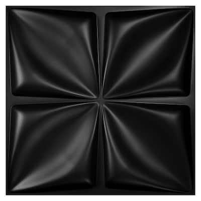 Butterfly Pattern 19.7 in. x 19.7 in. PVC Decorative 3D Wall Panel in Black (Set of 12)