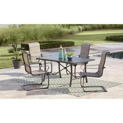SmartConnect 5-Piece Steel Outdoor Dining Set with Padded Sling Motion Chairs