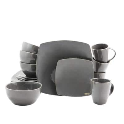Soho Lounge 16-Piece Casual Gray Stoneware Dinnerware Set (Service for 4)
