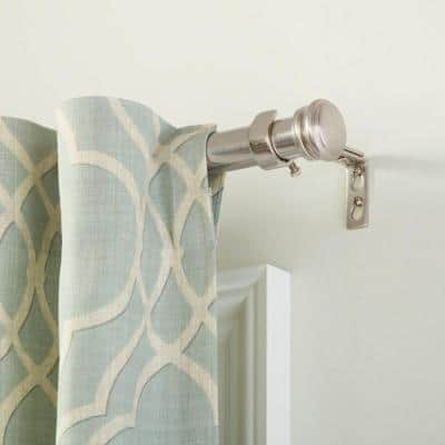 Mix and Match 72 in. - 144 in. Single Curtain Rod in Brushed Nickel