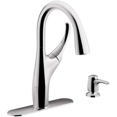 Mazz Single-Handle Pull-Down Sprayer Kitchen Faucet in Polished Chrome