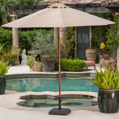 Reese 66 lbs. Plastic and Concrete Patio Umbrella Base in Brown