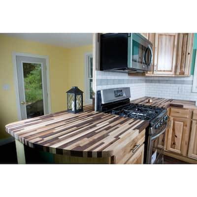 Unfinished Maple/Walnut Maple 6 ft. L x 36 in. D x 1.5 in. T Butcher Block Island Countertop