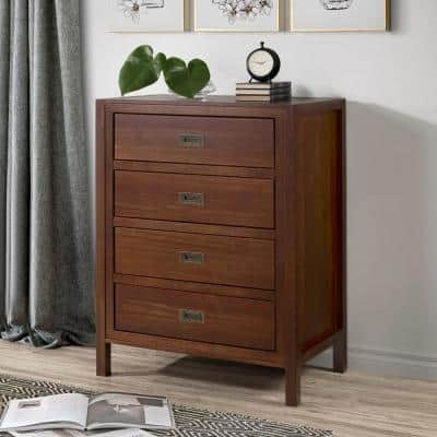 """40"""" Classic Solid Wood 4-Drawer Chest - Walnut"""
