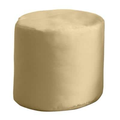 20 in. x 20 in. x 18 in. Spectrum Sand Round Outdoor Pouf Ottoman/Seat Knife Edge