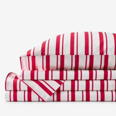 Company Kids Stripe 4-Piece Red Striped 200-Thread Count Organic Cotton Percale Queen Sheet Set