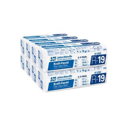 R-19 Kraft Faced Fiberglass Insulation Batt 15 in. x 93 in. (8-Bags)