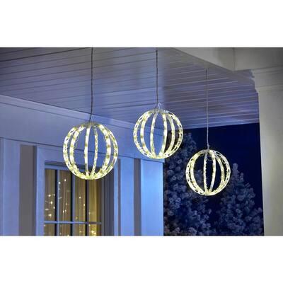 6.5 ft. 120-Light LED Warm White Twinkling Spheres String Light