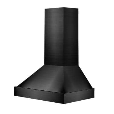 48 in. 1200 CFM Black Stainless Steel Wall Mount Range Hood