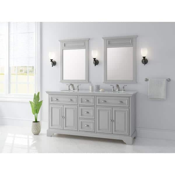 Home Decorators Collection Sadie 67 In W X 21 5 In D Vanity In Dove Grey With Marble Vanity Top In Natural White With White Sinks Md V1834 The Home Depot
