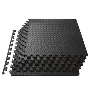 Exercise Puzzle Mat Black 24 in. x 24 in. x 0.5 in. EVA Foam Interlocking Anti-Fatigue Exercise Tile Mat (6-Pack)
