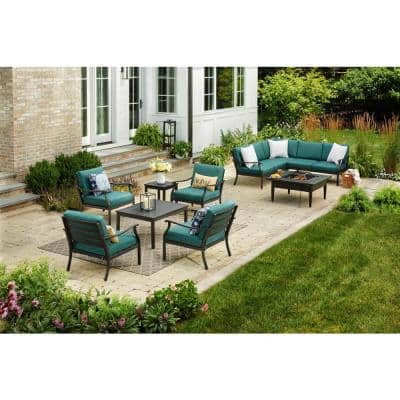 Riley Stationary Metal Steel Outdoor Lounge Chair with Charleston Cushions (2-Pack)