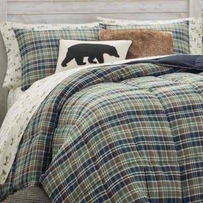 Rugged Navy Plaid Comforter Set
