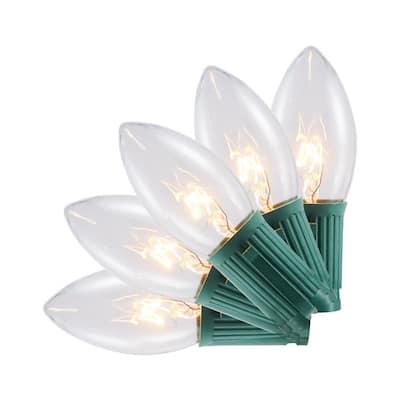 24 ft. 25-Light C9 Clear White Incandescent Light String