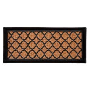 34.5 in. x 14 in. x 1.5 in. Black Metal Boot Tray with Trellis Coir and Rubber Insert
