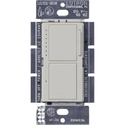 Maestro 300-Watt Single-Pole Dual Dimmer and Switch - Palladium