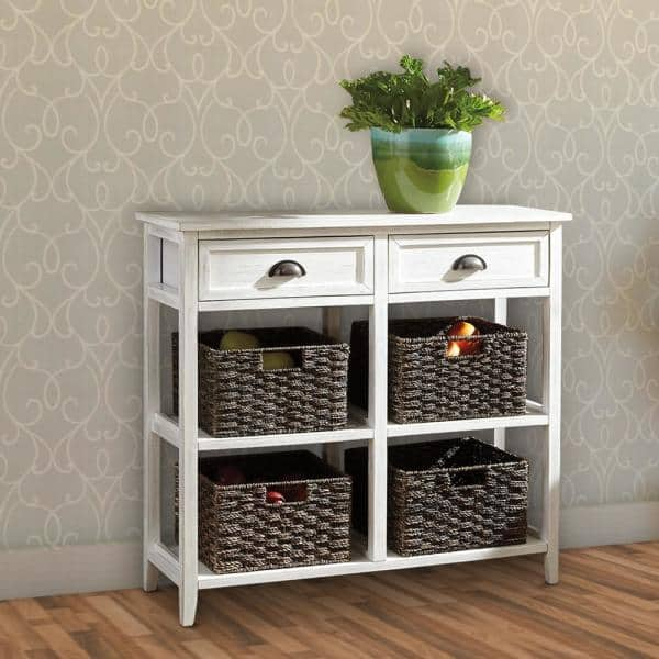 Benjara 32 In H White And Brown Wooden Console Sofa Table With Four Woven Storage Baskets Bm193780 The Home Depot - White Console Table With Storage Baskets