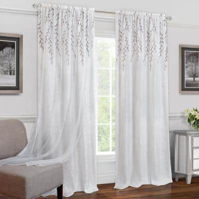 Willow 42 in. W x 84 in. L Polyester Light Filtering Window Panel in White