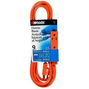 9 ft. 16/3 SJTW Multi-Outlet (3) Indoor Light-Duty Extension Cord with Cube Power Tap