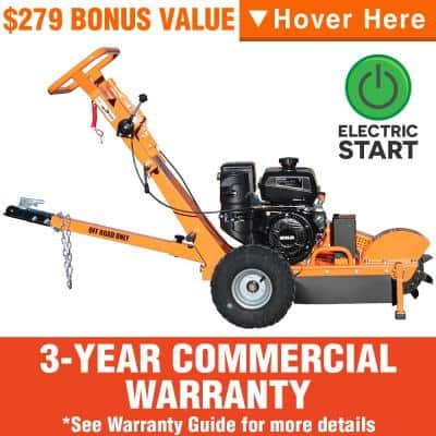 11 in. 14 HP Commercial Kohler Gas Powered Stump Grinder with Extra Set of Teeth, Tow Bar, Electric Start and Hour Meter