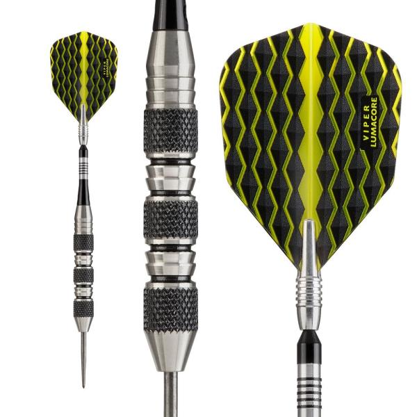 Viper The Freak 22 G Black And Yellow Knurled And Shark Fin Barrel Steel Tip Dart Set 22 1702 22 The Home Depot